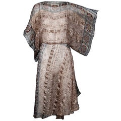 1970s Vintage Metallic Paper Thin Indian Print Silk Dress with Batwing Sleeves