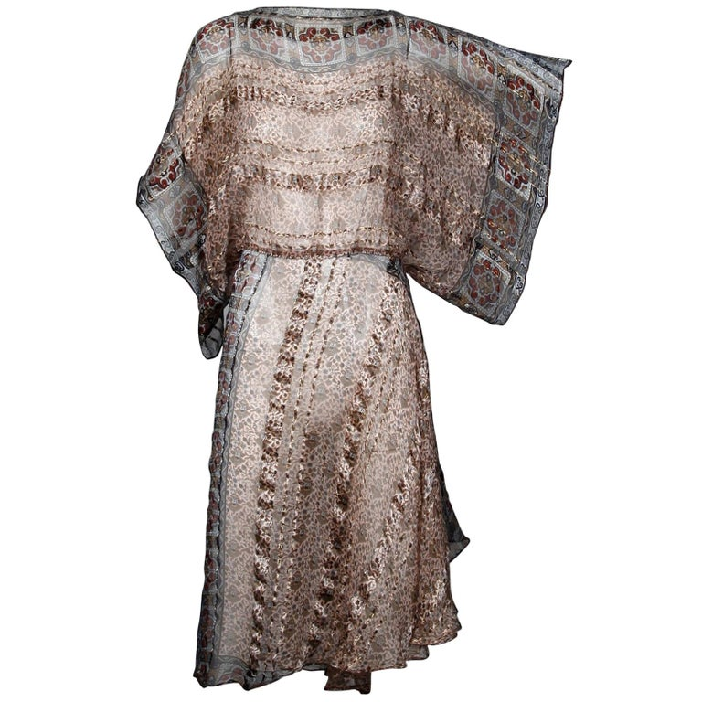 1970s Vintage Metallic Paper Thin Indian Print Silk Dress with Batwing Sleeves For Sale