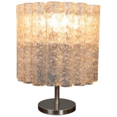 1970s Vintage Midcentury Doria Leuchten Crystal Iced Glass Tubular Table Lamp
