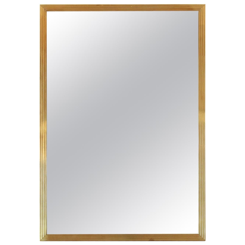 1970s vintage mirror with goldenrod frame