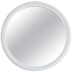 1970s Vintage Mirror with White Round Frame