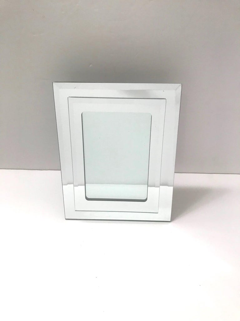 Beveled 1970s Vintage Mirrored Picture Frame For Sale