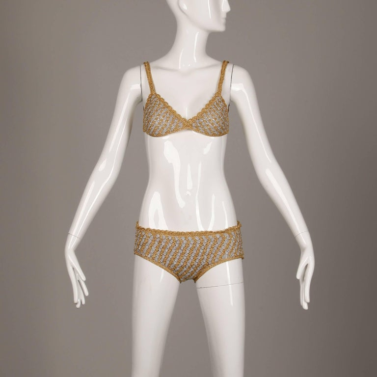 Bottom Lined Top Unlined Top Back Rings Closure Marked Size: 12 Estimated Size: XS Color: Gold/ Silver Fabric: Metallic Yarn Crochet Label: Moggie  Measurements:   Bust: 32