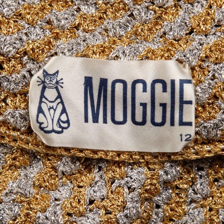 Brown 1970s Vintage Moggie Metallic Gold + Silver Crochet Bikini 2-Piece Swimsuit For Sale