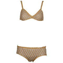 1970s Vintage Moggie Metallic Gold + Silver Crochet Bikini 2-Piece Swimsuit