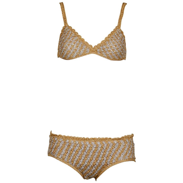 1970s Vintage Moggie Metallic Gold + Silver Crochet Bikini 2-Piece Swimsuit For Sale