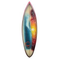 1970s Vintage Ocean Pacific 'OP' Airbrush Mural Surfboard