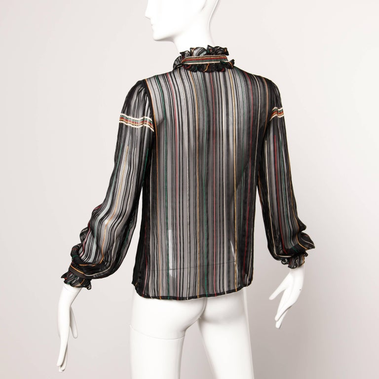 Black 1970s Vintage Paper Thin Sheer Striped Silk Chiffon Button Up Blouse Top For Sale