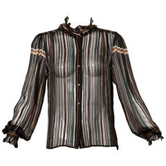 1970s Vintage Paper Thin Sheer Striped Silk Chiffon Button Up Blouse Top