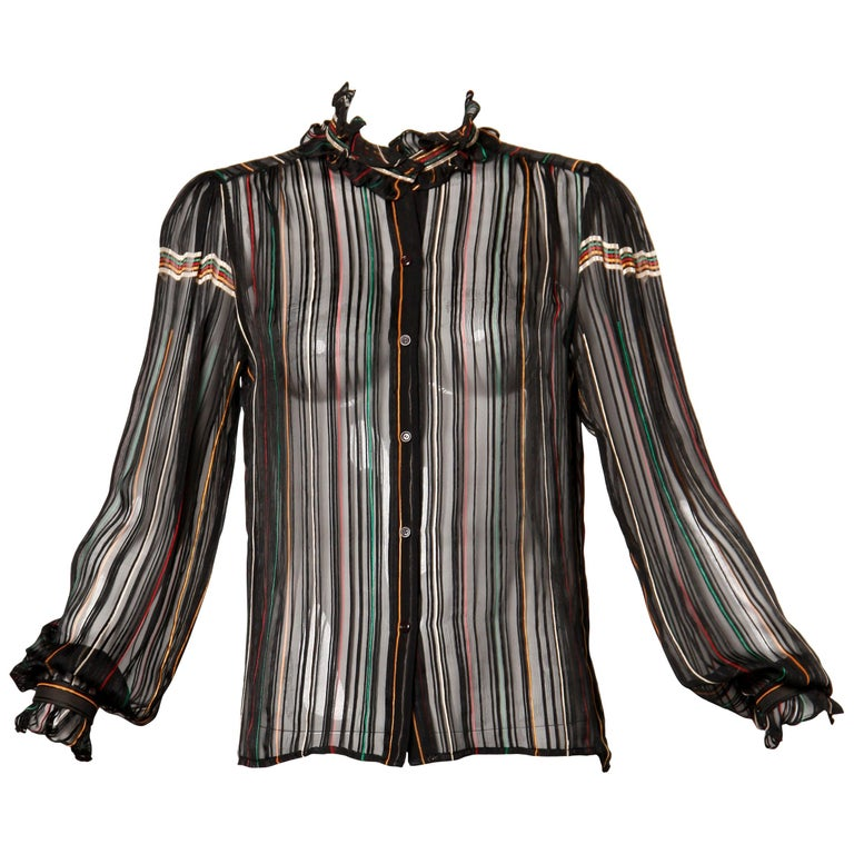 1970s Vintage Paper Thin Sheer Striped Silk Chiffon Button Up Blouse Top For Sale