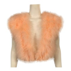 1970's Vintage Peach Marabou Feather Vest Retailed by Rizik Bros.