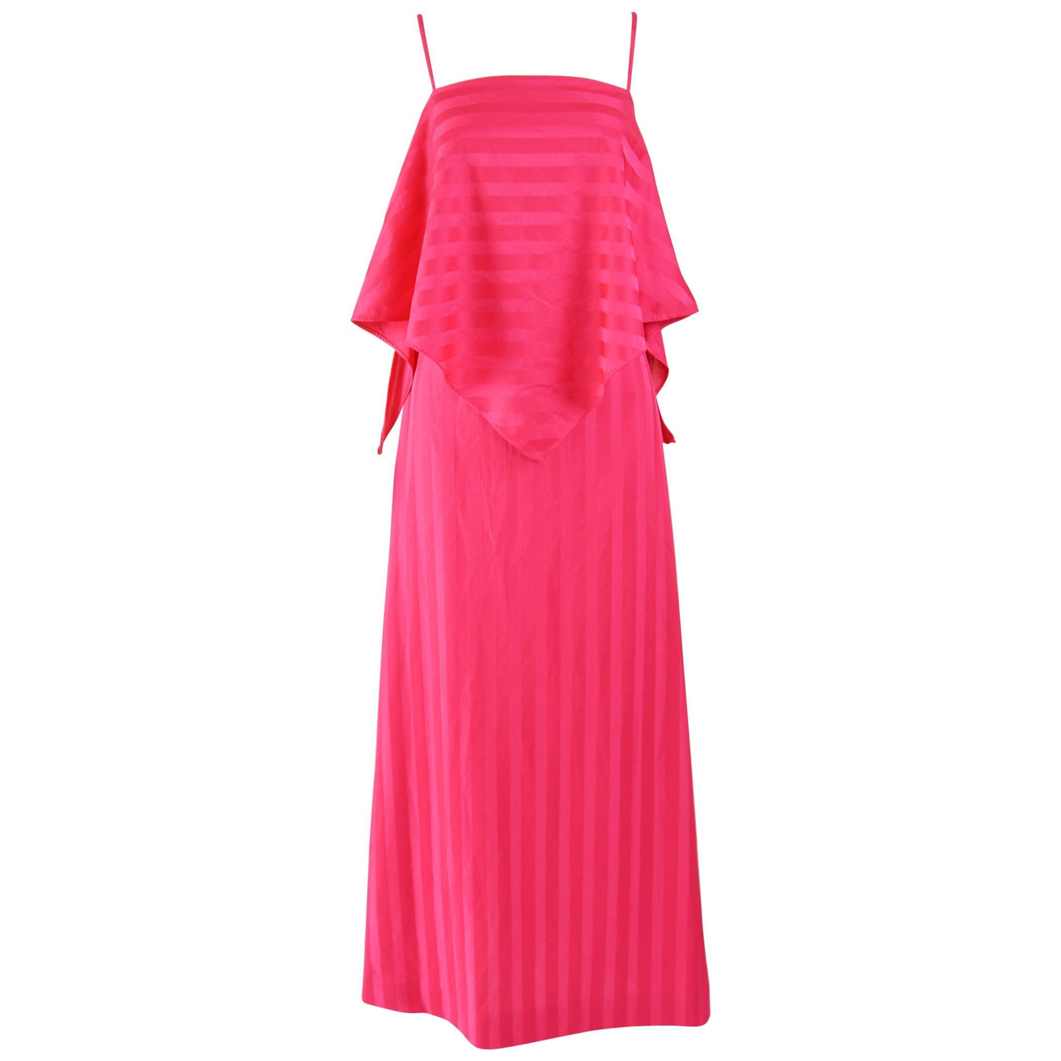 1970s Vintage Pink Maxi Dress
