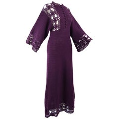 1970s Vintage Purple Hand Crochet Kimono Sleeve Maxi Dress