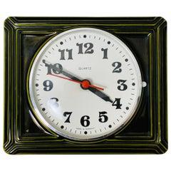 1970s Vintage Quartz German Rectangular Ceramic Green Wall Clock, Model No 4063
