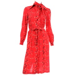 1970s Vintage Red Floral Print Albert Nipon Dress W Belt and Kerchief Scarf