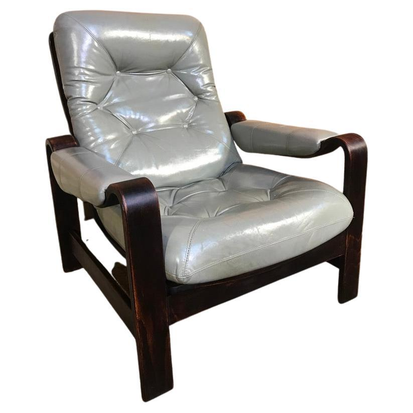 1970s Vintage Retro Dutch Coja Grey Leather Bentwood Arm Chair or Club Chair