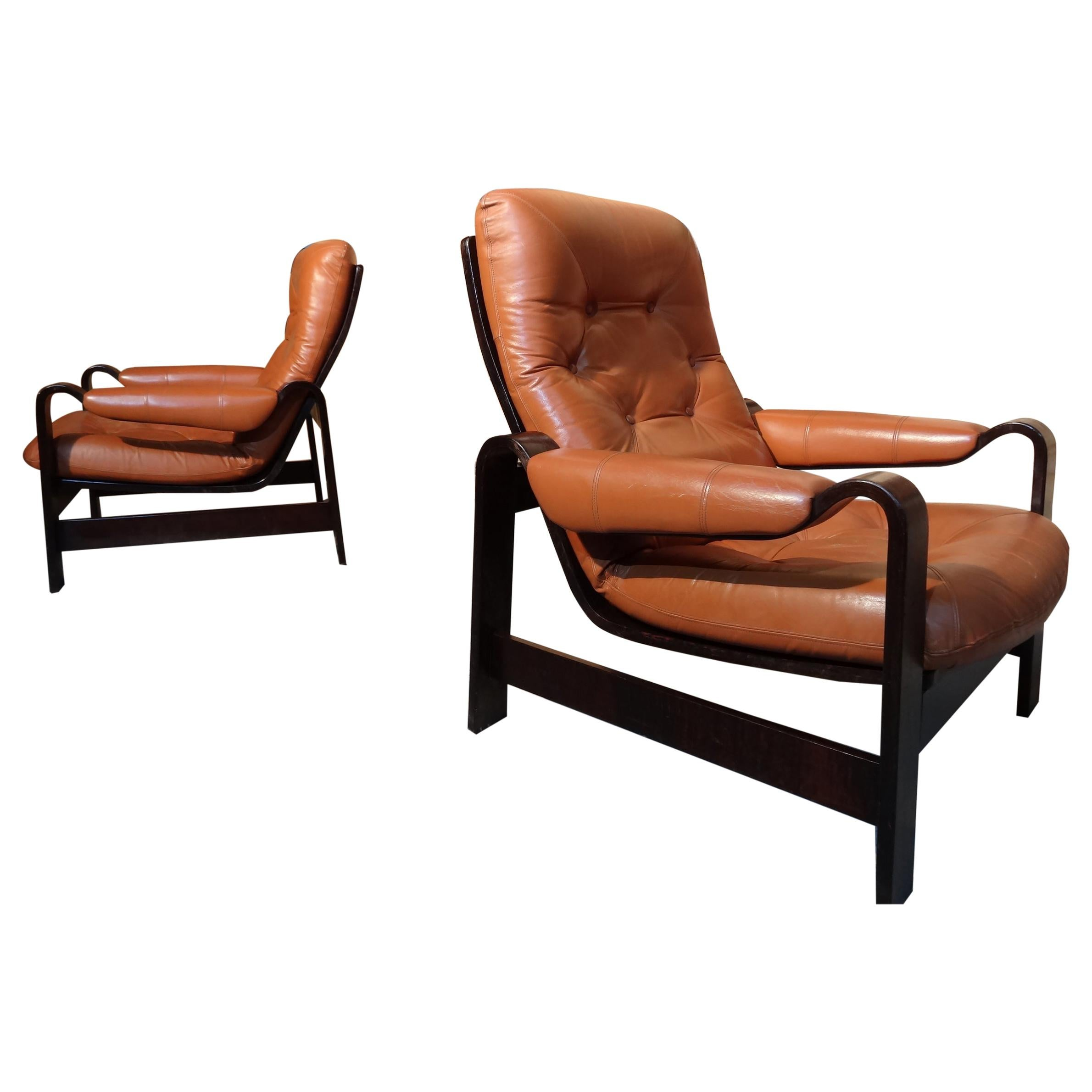1970s Vintage Retro Dutch Coja Leather Bentwood Arm Chair or Club Chair