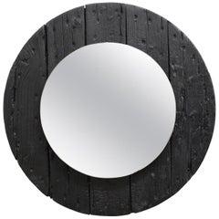 1970s Vintage Round Wood Mirror