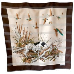 "1970s Vintage Scarf "" Pointer Dog in the Field"" designed by Franco Laurenti"