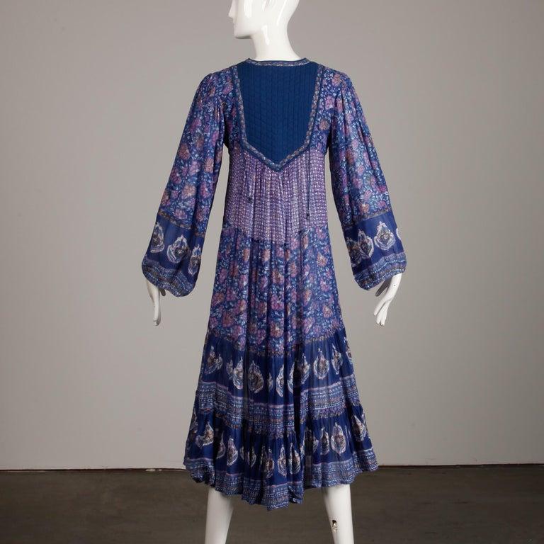 1970s Vintage Sheer Cotton Gauze Indian Blue Block Print Hippie Boho Dress For Sale 6