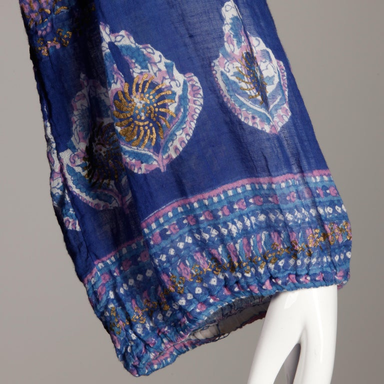 Women's 1970s Vintage Sheer Cotton Gauze Indian Blue Block Print Hippie Boho Dress For Sale
