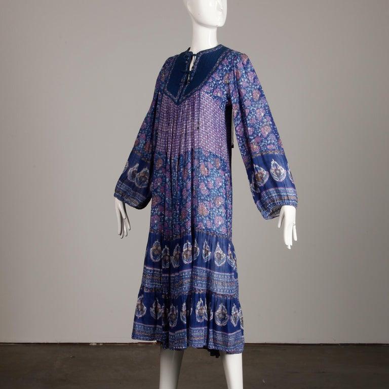 1970s Vintage Sheer Cotton Gauze Indian Blue Block Print Hippie Boho Dress For Sale 1