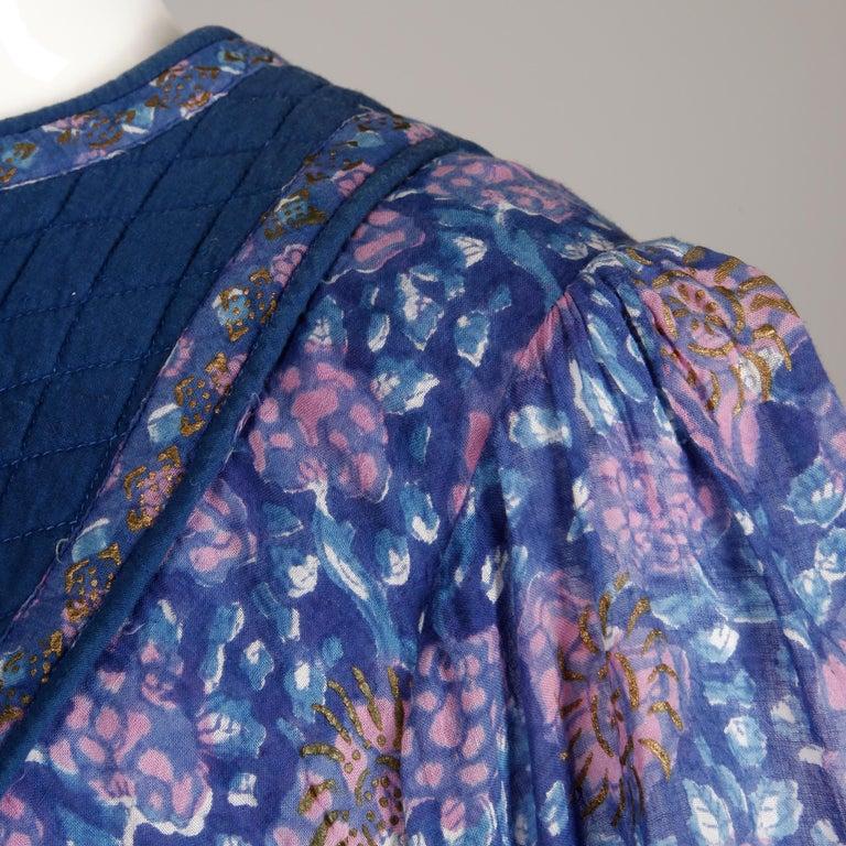 1970s Vintage Sheer Cotton Gauze Indian Blue Block Print Hippie Boho Dress For Sale 2