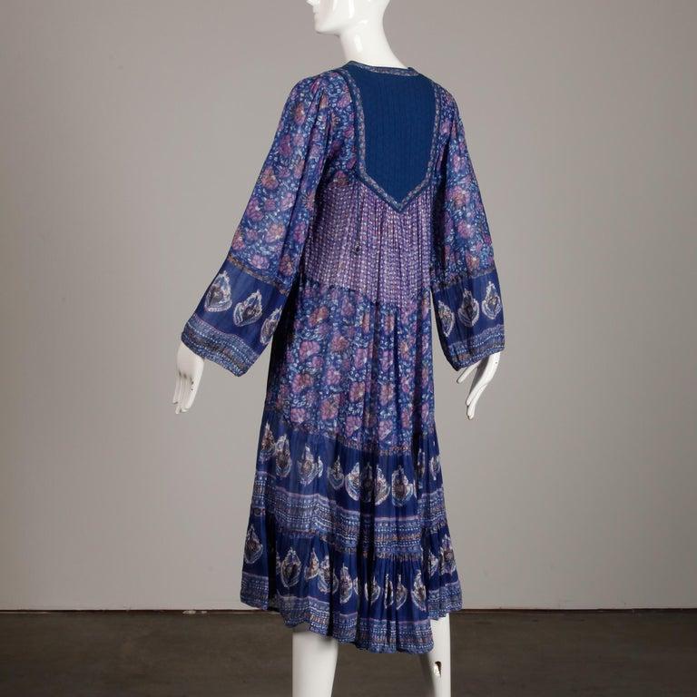 1970s Vintage Sheer Cotton Gauze Indian Blue Block Print Hippie Boho Dress For Sale 3
