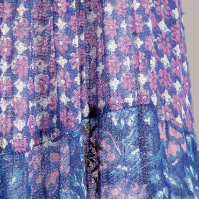 1970s Vintage Sheer Cotton Gauze Indian Blue Block Print Hippie Boho Dress For Sale 4