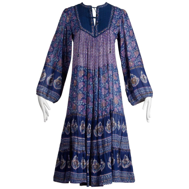 1970s Vintage Sheer Cotton Gauze Indian Blue Block Print Hippie Boho Dress For Sale