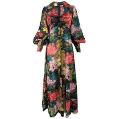 1970s Vintage Sheer Floral Bishop Sleeve Maxi Dress
