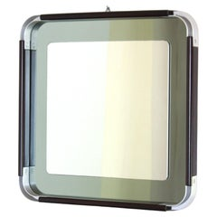 1970s italian Vintage Square chromed Mirror in space age style