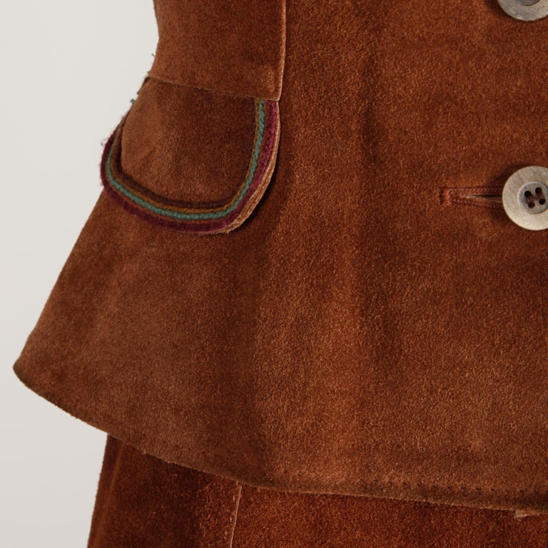 1970s Vintage Suede Leather Jacket + Skirt Ensemble For Sale 5