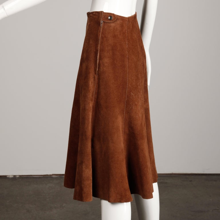 Brown 1970s Vintage Suede Leather Jacket + Skirt Ensemble For Sale