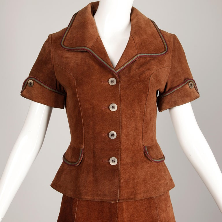 1970s Vintage Suede Leather Jacket + Skirt Ensemble In Excellent Condition For Sale In Sparks, NV