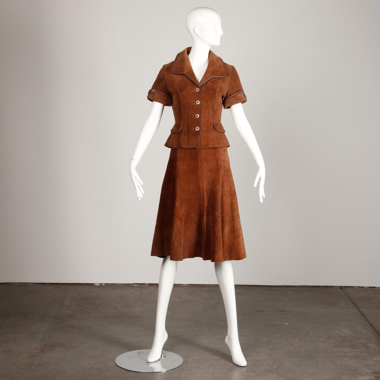 1970s Vintage Suede Leather Jacket + Skirt Ensemble For Sale 2