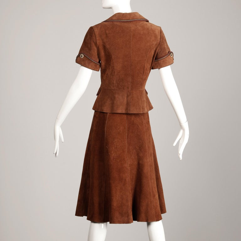 1970s Vintage Suede Leather Jacket + Skirt Ensemble For Sale 4