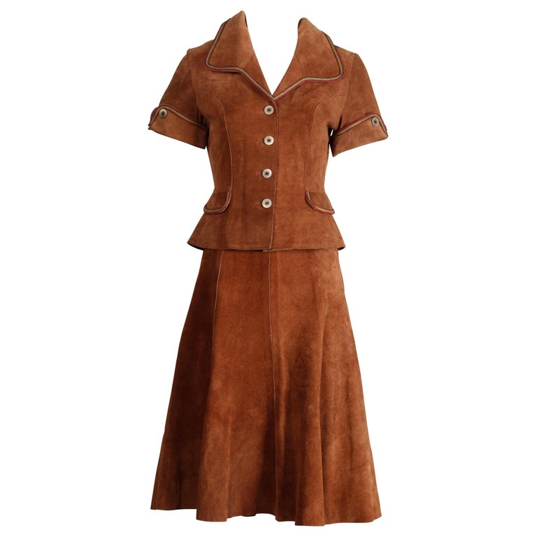 1970s Vintage Suede Leather Jacket + Skirt Ensemble For Sale