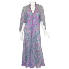 1970's Vintage Sultana by Adini Printed Boho Indian Caftan Dress