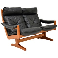 1970s Vintage Teak and Leather Sofa by Soda Galvano