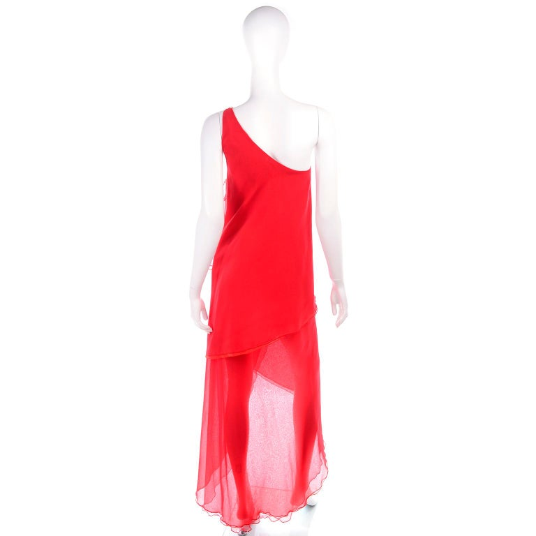 Women's 1970s Vintage Victor Costa Tomato Red Chiffon One Shoulder Evening Dress For Sale