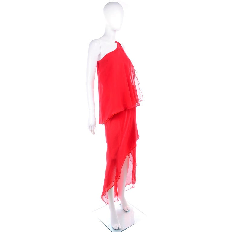 1970s Vintage Victor Costa Tomato Red Chiffon One Shoulder Evening Dress For Sale 1
