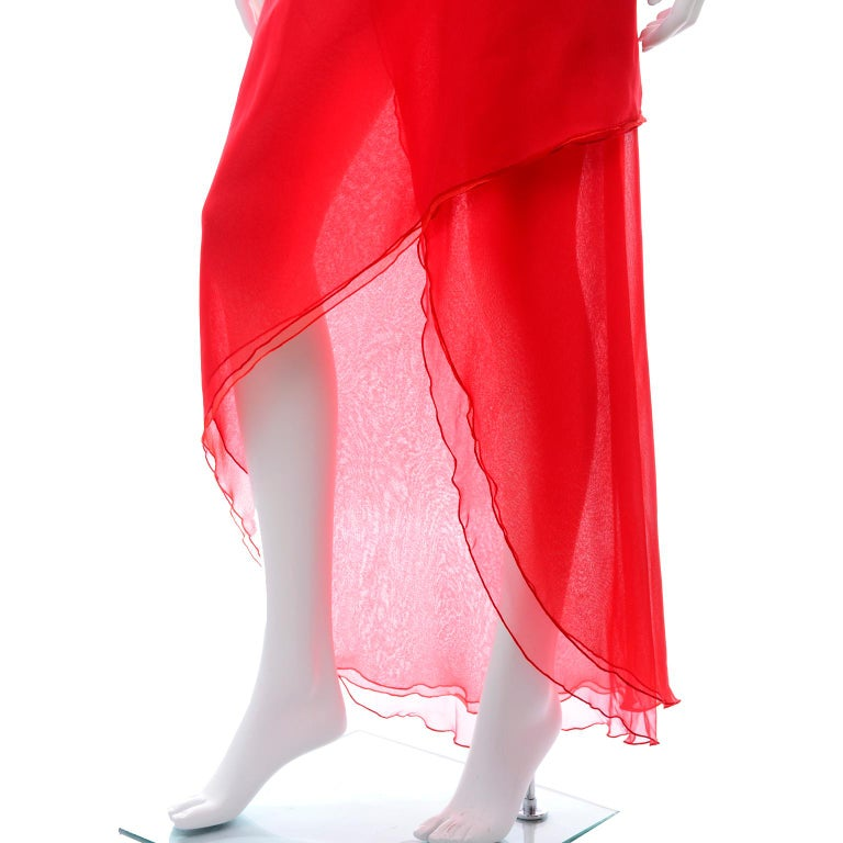 1970s Vintage Victor Costa Tomato Red Chiffon One Shoulder Evening Dress For Sale 4
