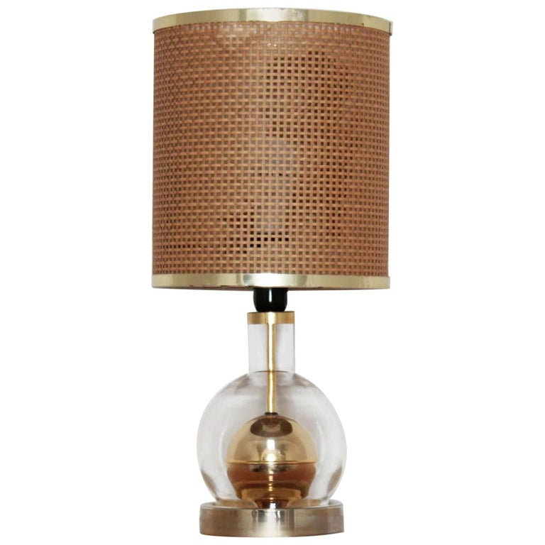 1970s Vintage Vimini and Brass Exotic Table Lamp For Sale