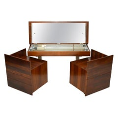 1970s Vintage Walnut and Chrome Dressing Table and Chests