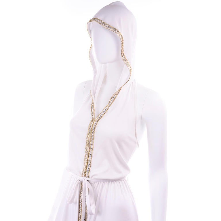 1970s Vintage White Hooded Maxi Dress With Gold Beads & Rhinestones For Sale 5