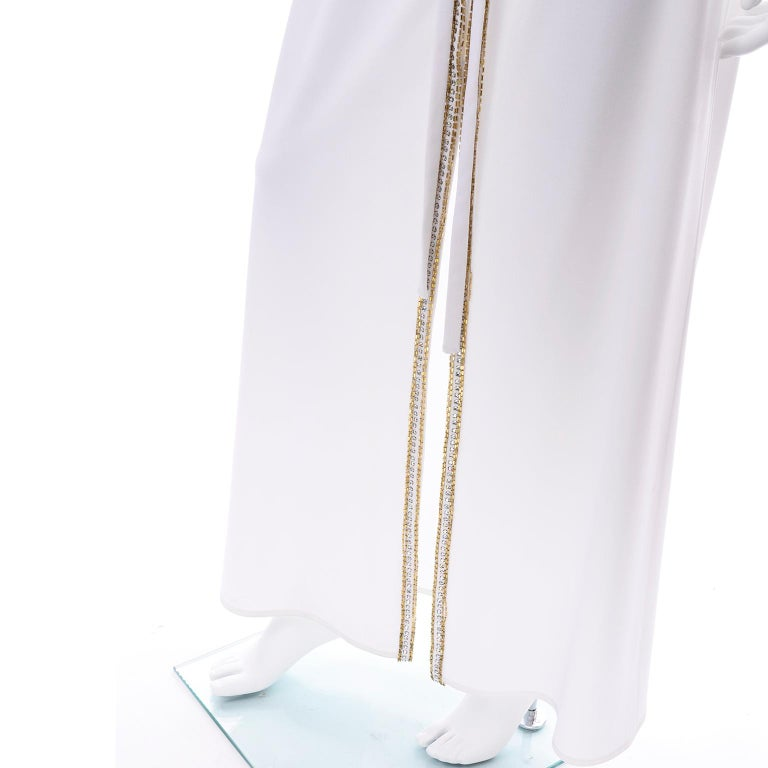 1970s Vintage White Hooded Maxi Dress With Gold Beads & Rhinestones For Sale 8