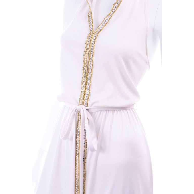 1970s Vintage White Hooded Maxi Dress With Gold Beads & Rhinestones For Sale 9