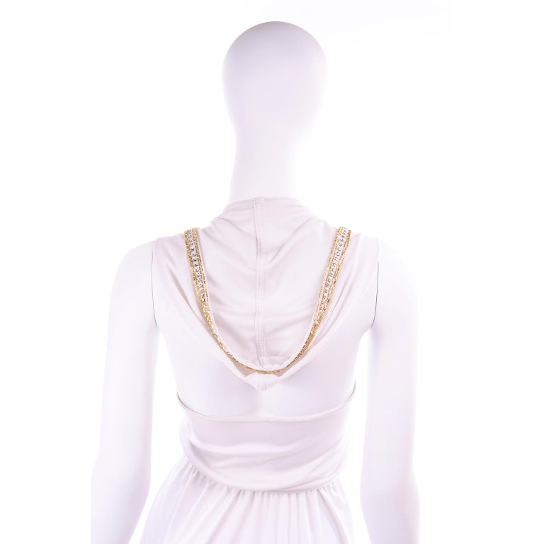 1970s Vintage White Hooded Maxi Dress With Gold Beads & Rhinestones For Sale 10
