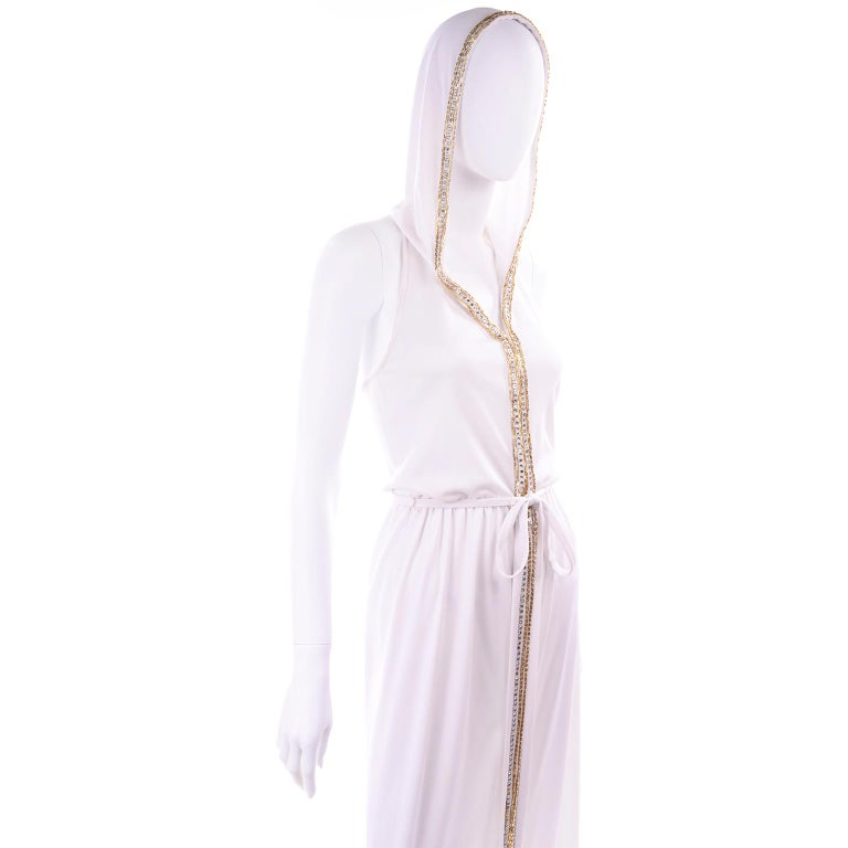 1970s Vintage White Hooded Maxi Dress With Gold Beads & Rhinestones For Sale 12